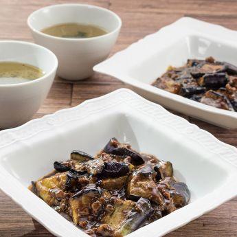 麻婆茄子と中華わかめスープ